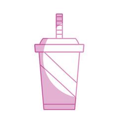 Silhouette delicious refreshment in the plastic vector