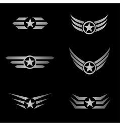 Silver wings emblem vector