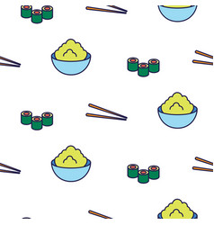 Sushi line icon seamless pattern vector
