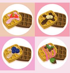 Waffle set chocolate syrop and banana and fruits vector