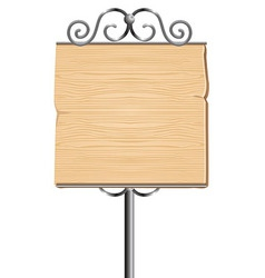 wooden sign for advertising with metal elements - vector image