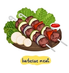 Meat kebab on cutting board vector