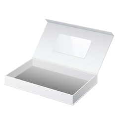 Realistic white package cardboard box opened for vector