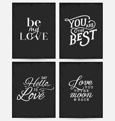 Valentines day minimal typography greeting cards vector