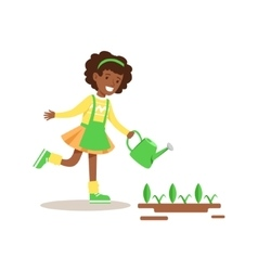 Girl watering sprouts helping in eco-friendly vector