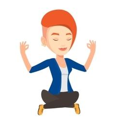 Peaceful business woman meditating in lotus pose vector
