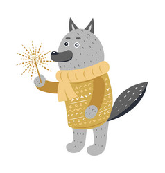 Grey wolf in warm yellow sweater with sparkler vector