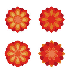 flat flowers icon set red flower symbols vector image