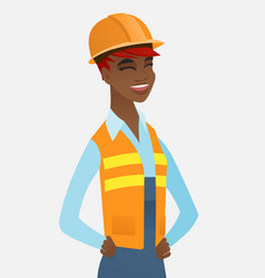 Young african-american builder laughing vector