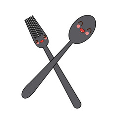 kawaii crossed spoon and fork tool cooking vector image