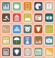 Stock market flat icons on red background vector