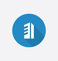 Building flat blue simple icon with long shadow vector