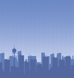 Original contour of the big city on a blue vector