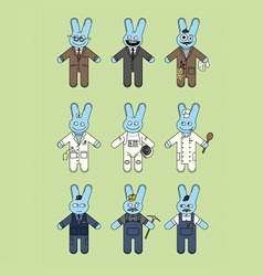 Blue bunnies vector