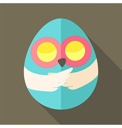 Easter owl egg shaped vector