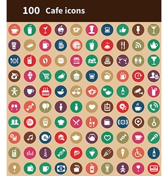 100 cafe icons vector