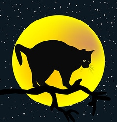 Tree branch with a cat in the moon background vector image