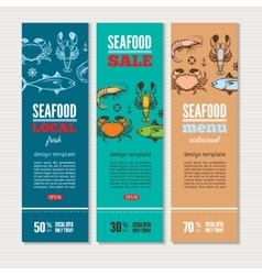 Seafood banners set vector