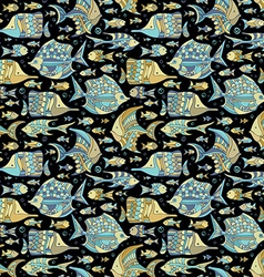 Seamless ocean fish pattern vector