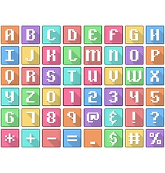 Alphabet numbers symbols flat square icons arcade vector