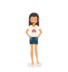 Asian gamer girl in flat style vector