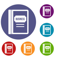 business book icons set vector image vector image