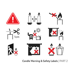 Candle safety stickers vector