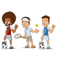 cartoon football tennis players characters set vector image vector image