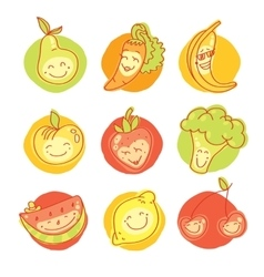 Child and baby food set of colorful fruits vector image