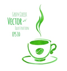 Cup of green coffee vector