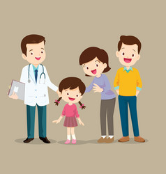 Cute family visiting the doctor vector