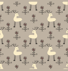 Deer flowers seamless pattern vector