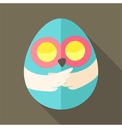 Easter owl egg shaped vector