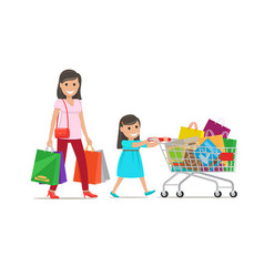 family out on shopping shopping set vector image