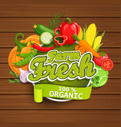 farm fresh vegetables label vector image vector image