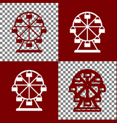 Ferris wheel sign bordo and white icons vector