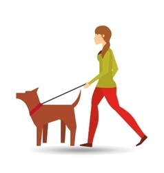girl walking a brown dog vector image vector image