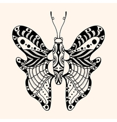 Hand drawn ornamental butterfly vector image vector image