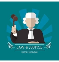 Judge of law and justice design vector