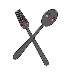Kawaii crossed spoon and fork tool cooking vector
