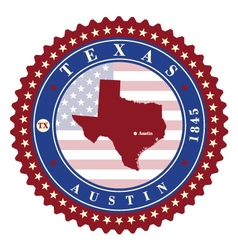 Label sticker cards of state texas usa vector