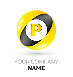 Letter p logo symbol in the colorful circle vector