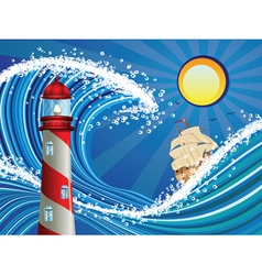 Lighthouse and boat in the sea2 vector