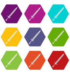 long sword icon set color hexahedron vector image vector image