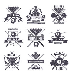 monochrome labels or logos for billiard club vector image vector image