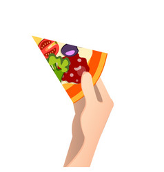 piece of pizza in a hand vector image vector image