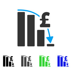 Pound financial epic fail flat icon vector