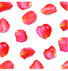 Red rose petals realistic vector