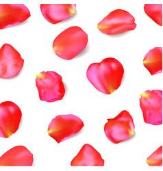 Red rose petals realistic vector