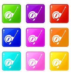 Roulette construction icons 9 set vector